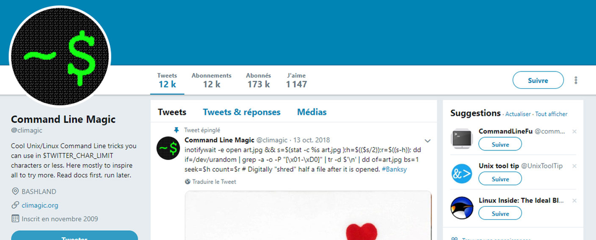 Compte twitter Command Line Magic