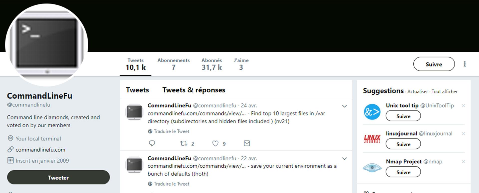 compte Twitter linux CommandLine Fu
