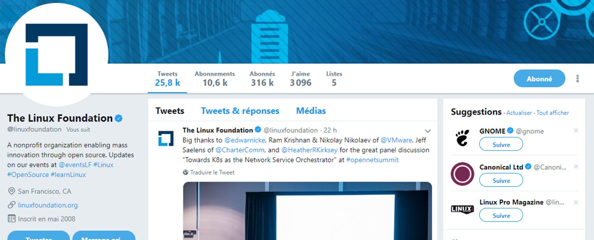 compte Twitter the linux foundation