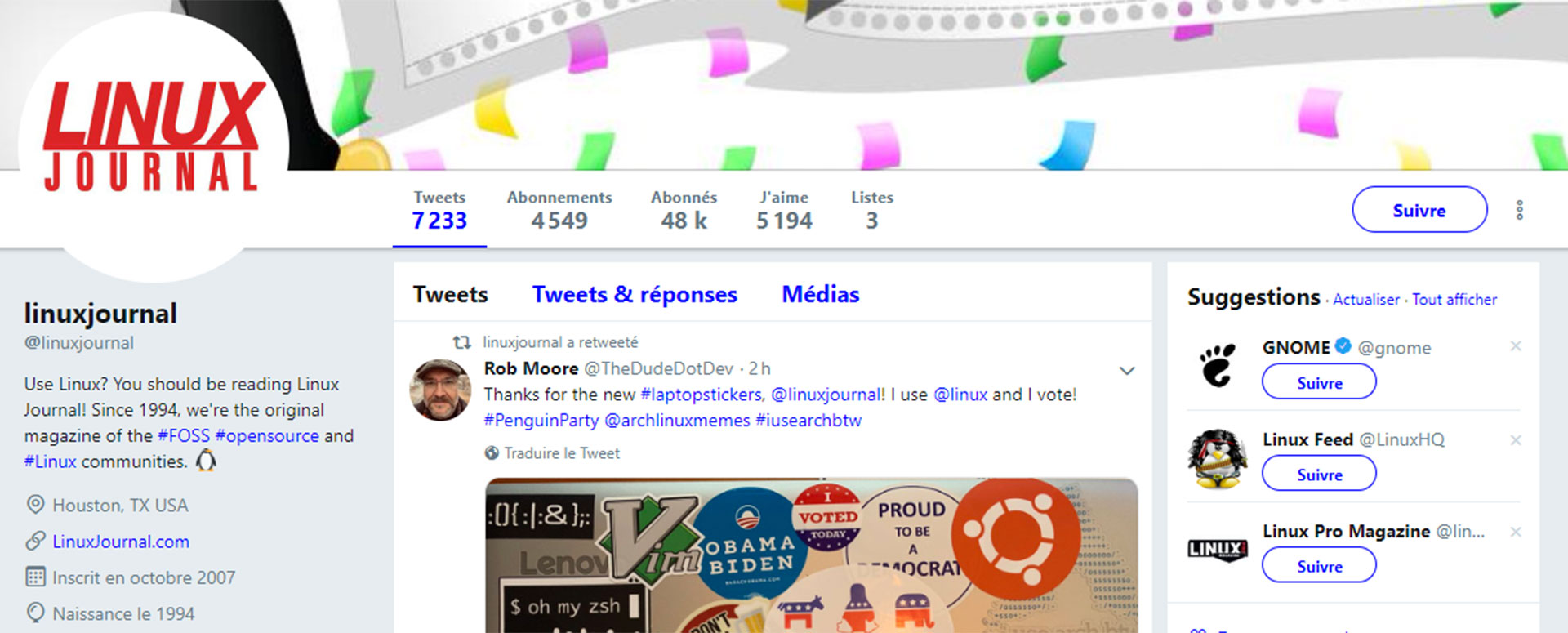Compte twitter Linux journal